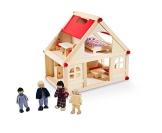 Glow2B Spielwaren 1000006 - Puppenhaus mit 9 Möbeln und 4 Puppen - 1