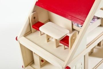 Glow2B Spielwaren 1000006 - Puppenhaus mit 9 Möbeln und 4 Puppen - 2