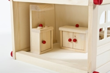 Glow2B Spielwaren 1000006 - Puppenhaus mit 9 Möbeln und 4 Puppen - 3