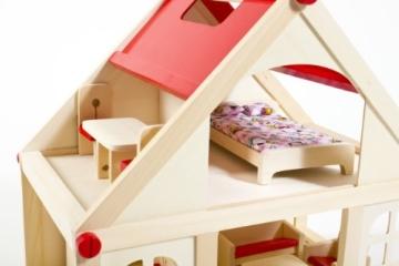 Glow2B Spielwaren 1000006 - Puppenhaus mit 9 Möbeln und 4 Puppen - 4