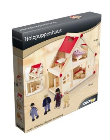 Glow2B Spielwaren 1000006 - Puppenhaus mit 9 Möbeln und 4 Puppen - 7