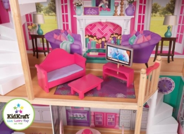 kidkraft 65830 gro es barbiehaus puppenhaus f r 46 cm puppen puppenh user und puppenstuben. Black Bedroom Furniture Sets. Home Design Ideas