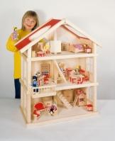 Puppenstube, 3 Etagen-Puppenhaus aus Holz, komplett mit Möbeln für 5 Zimmer - 1