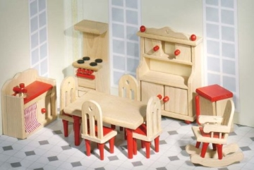 Puppenstube, 3 Etagen-Puppenhaus aus Holz, komplett mit Möbeln für 5 Zimmer - 2