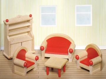 Puppenstube, 3 Etagen-Puppenhaus aus Holz, komplett mit Möbeln für 5 Zimmer - 3