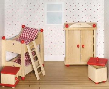 Puppenstube, 3 Etagen-Puppenhaus aus Holz, komplett mit Möbeln für 5 Zimmer - 4