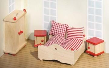 Puppenstube, 3 Etagen-Puppenhaus aus Holz, komplett mit Möbeln für 5 Zimmer - 5