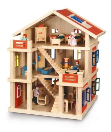 Bayer Chic 2000 293 01 - Puppenhaus 3-stöckig komplett möbliert - 1