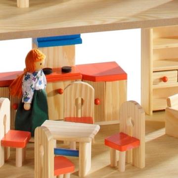 howa Puppenhaus aus Holz incl. 22 tlg. Möbelset und 4 Puppen - 3
