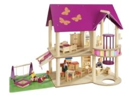howa Puppenhaus aus Holz incl. 22 tlg. Möbelset und 4 Puppen - 1
