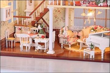 Puppenhaus Dollhouse Bausatz aus Holz mit kompletter Einrichtung incl. Beleuchtung DIY - 3