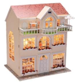 Puppenhaus Dollhouse Bausatz aus Holz mit kompletter Einrichtung incl. Beleuchtung DIY - 1