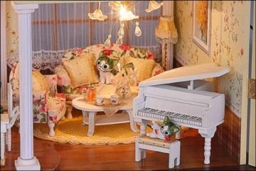 Puppenhaus Dollhouse Bausatz aus Holz mit kompletter Einrichtung incl. Beleuchtung DIY - 4