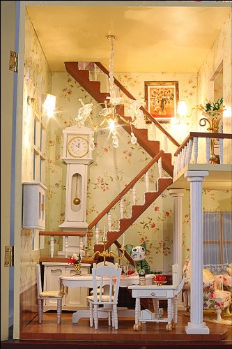 Puppenhaus Dollhouse Bausatz aus Holz mit kompletter Einrichtung incl. Beleuchtung DIY - 5