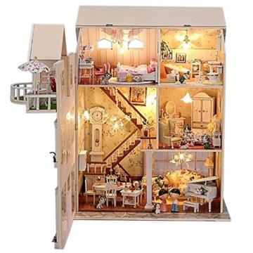 Puppenhaus Dollhouse Bausatz aus Holz mit kompletter Einrichtung incl. Beleuchtung DIY - 7