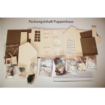 Puppenhaus Dollhouse Bausatz aus Holz mit kompletter Einrichtung incl. Beleuchtung DIY - 8