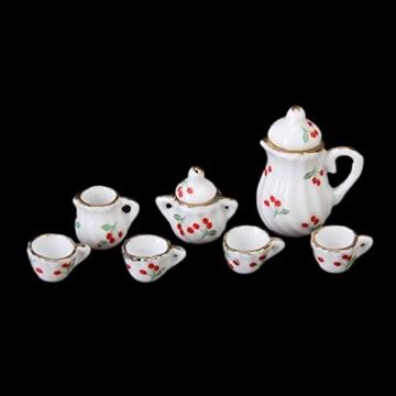 15 Stück Miniatur Puppenhaus Ess Geschirr Porzellan Tee Set Geschirr Tasse Teller rote Kirsche - 2