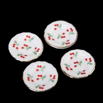 15 Stück Miniatur Puppenhaus Ess Geschirr Porzellan Tee Set Geschirr Tasse Teller rote Kirsche - 4