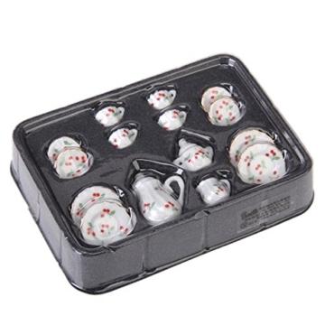 15 Stück Miniatur Puppenhaus Ess Geschirr Porzellan Tee Set Geschirr Tasse Teller rote Kirsche - 1