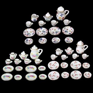 15 Stück Miniatur Puppenhaus Ess Geschirr Porzellan Tee Set Geschirr Tasse Teller rote Kirsche - 5