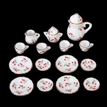 15 Stück Miniatur Puppenhaus Ess Geschirr Porzellan Tee Set Geschirr Tasse Teller rote Kirsche - 6