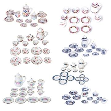 15 Stück Miniatur Puppenhaus Ess Geschirr Porzellan Tee Set Geschirr Tasse Teller rote Kirsche - 7