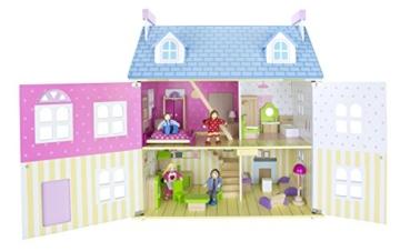 Alpine Villa Schöne Puppenhaus aus Holz mit Möbeln und Familie Puppen, Familienhaus, Häuser - 2