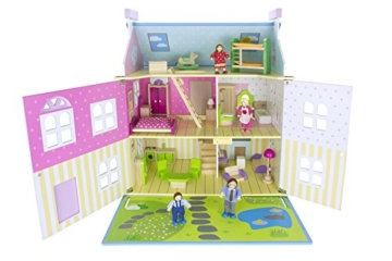 Alpine Villa Schöne Puppenhaus aus Holz mit Möbeln und Familie Puppen, Familienhaus, Häuser - 3