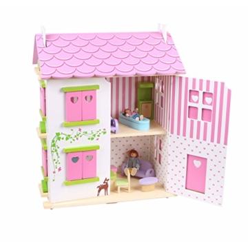 Puppenhaus Puppenstube Landhaus Möbel 2 Etagen Kinder Holz 4104 - 4