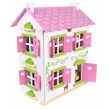Puppenhaus Puppenstube Landhaus Möbel 2 Etagen Kinder Holz 4104 - 1