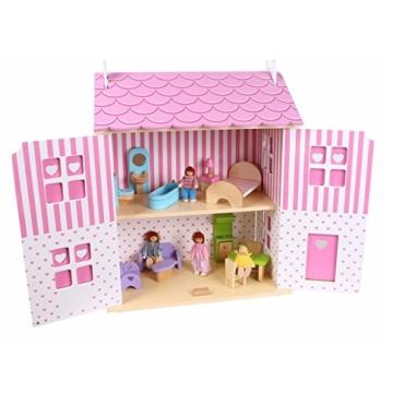 Puppenhaus Puppenstube Landhaus Möbel 2 Etagen Kinder Holz 4104 - 5