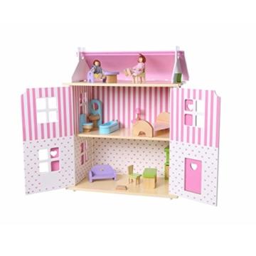 Puppenhaus Puppenstube Landhaus Möbel 2 Etagen Kinder Holz 4104 - 7