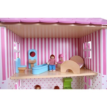 Puppenhaus Puppenstube Landhaus Möbel 2 Etagen Kinder Holz 4104 - 8