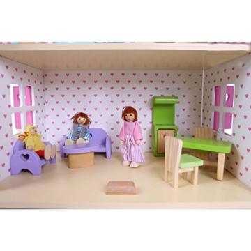 Puppenhaus Puppenstube Landhaus Möbel 2 Etagen Kinder Holz 4104 - 9