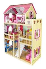 Traumvilla Holzpuppenhaus mit Möbeln, Puppenhaus holz - 1