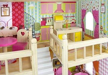 Traumvilla Holzpuppenhaus mit Möbeln, Puppenhaus holz - 6