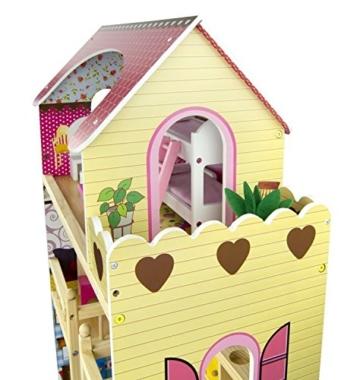 Traumvilla Holzpuppenhaus mit Möbeln, Puppenhaus holz - 7
