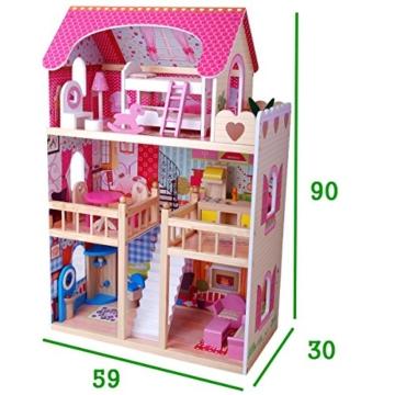 XL Puppenhaus aus Holz, 90 cm hoch, mit Möbeln - 2