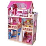 XL Puppenhaus aus Holz, 90 cm hoch, mit Möbeln - 1