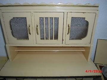 alte große Küchenmöbel für Puppenhaus Puppenstube Küche  um 1930 antik selten
