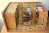 Antike alte Puppenküche, Puppenstube, vor 1900, alles handgefertigt