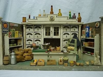 Antike Gottschalk Puppenstube Kaufladen/ Tante Emma Laden mit Einrichtung, 1920