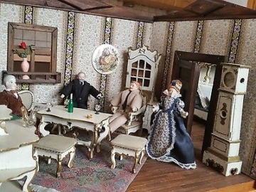 Antike Puppenstube, Puppenhaus, Puppenmöbel, Gründerzeit, Jugendstil, Rokoko