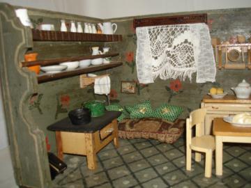 Antike XXL Puppenküche Puppenstube um 1900 inkl. Zubehör, old dollhouse