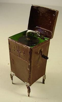 Antikes Seltenes Puppenstuben Standgrammophon Zinn vor 1945