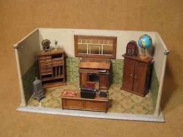 """███►Rarität sehr alte seltene Puppenstube """"Büro"""" -- um 1930 --"""