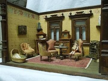 Gottschalk 2- Raum-Puppenstube/ Säulenpuppenstube mit Einrichtung um 1900