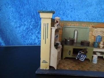 Kleine Puppenküche Manufakturarbeit um 1900/ Puppenstube / Puppenküche