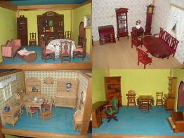 Konvolut: 3 Etaggen Puppenhaus, Puppenstube + ca. 86 Teile Möbel u. Zubehör