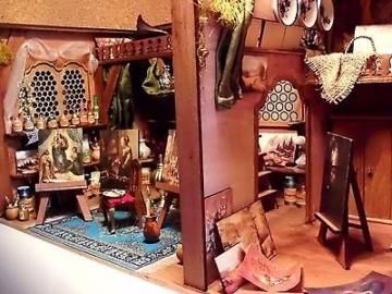 Künstleratelier, Atelier des Malers für Puppenhaus Puppenstube 1:12 Miniatur